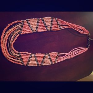 Pink/coral seed bead necklace